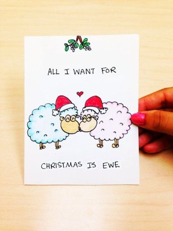 fun-christmas-cards-modern-and-simple-design-white-coloured-with-picture-of-the-couple-sheep-wear-christmas-hat-and-black-christmas-gre