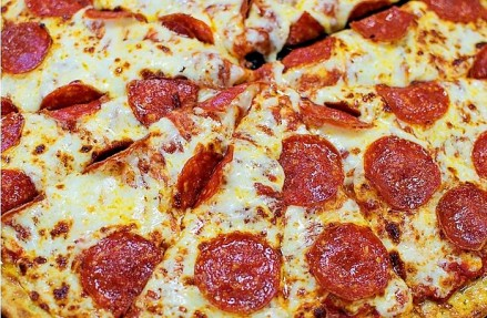 Close up of pepperoni pizza.