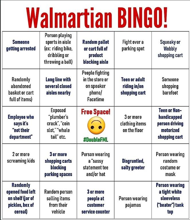 #DoubleFML Walmart Bingo